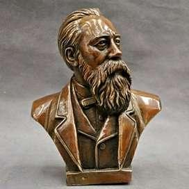 Patung china Pure Bronze Communist Fredrich Von Engels Bust Statue 7''