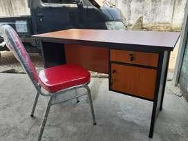 Paket meja kantor / meja kasir tebal 2.5 cm Plus kursi kantor