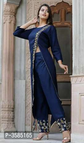 Side Slit Style Rayon Party Wear Kurta With Pant