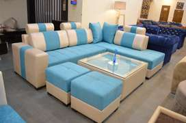 Brand new designer L-shap sofa set with glass top centre table