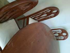 6 wooden chairs & round dining table.