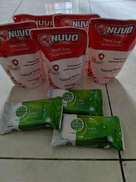 Nuvo handwash 250ml dan DETTOL wet wipes anti bakteri