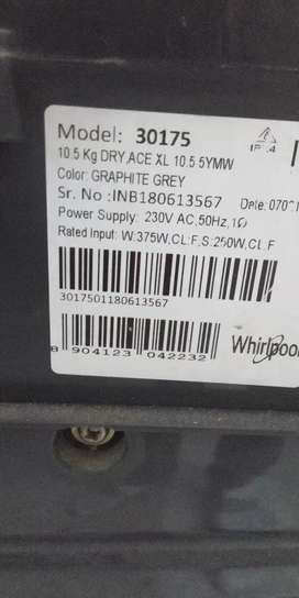 whirlpool washing machine 10.5 kg