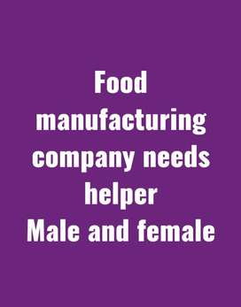 Food products manufacture company need helper