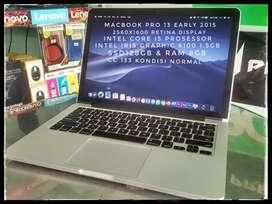 Macbook Pro 13 early 2015 Retina Intel iris 6100 Mulus murah