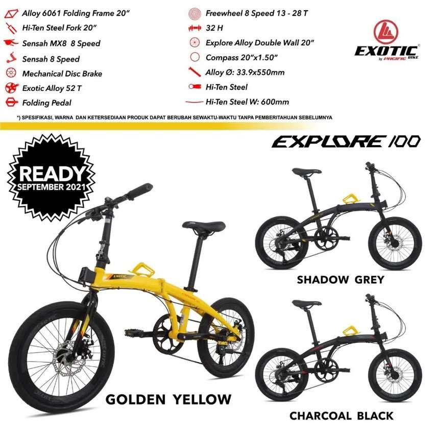 Sepeda Lipat 20 Exotic Explore 100 Alloy 8 speed Banyak Bonus