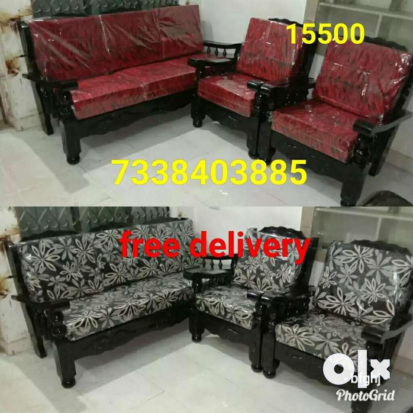 affordable new sofa set 3+1+1 mysore teakwood 0