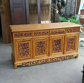 Bufet meja tv kayu jati model ukiran spesifikasi:P:200xL:45xT:75cm.