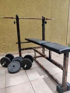 Workout bench + Dumbbell + Bar + 20kgs weights