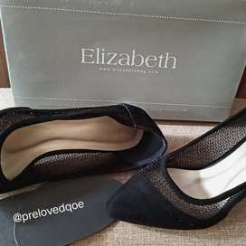 "High heels merk Elizabeth 5"" inch warna hitam ukuran 38"
