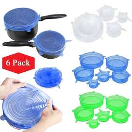 6 Pcs/Set Universal Silicone Reusable Stretch Lids Bowl Covers