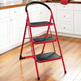 3 step folding ladder Red  (AONE)