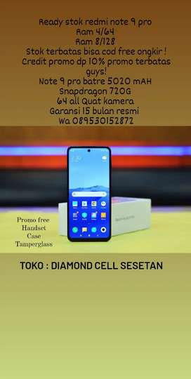 Promo redmi note 9 pro free temperglass ,handset ,speaker bluetooth