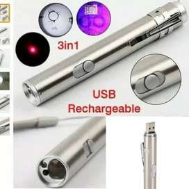 USB Senter 3 in 1 Mini Multifunction LED Laser Pointer UV Ultraviolet