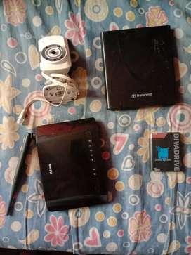 D-link camera,transcend DVDdrive,D-link Wi-Firouter, hard drive160gb