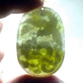 Liontin Batu Giok Akik jadeit jade Alami ukir naga Asli Bayar Ditempat