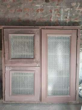 2 Window sagwan 3.5×3.5 foot & 4.5×4.5 foot with glass and mesh frame