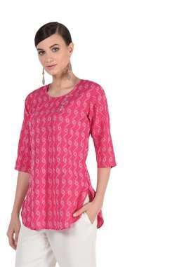 Pink Designer Kurti With  White Pattern | Distributorship & Wholesale