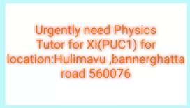 Experienced Physics home Tutor Tutor need for puc1  Hulimavu banglore