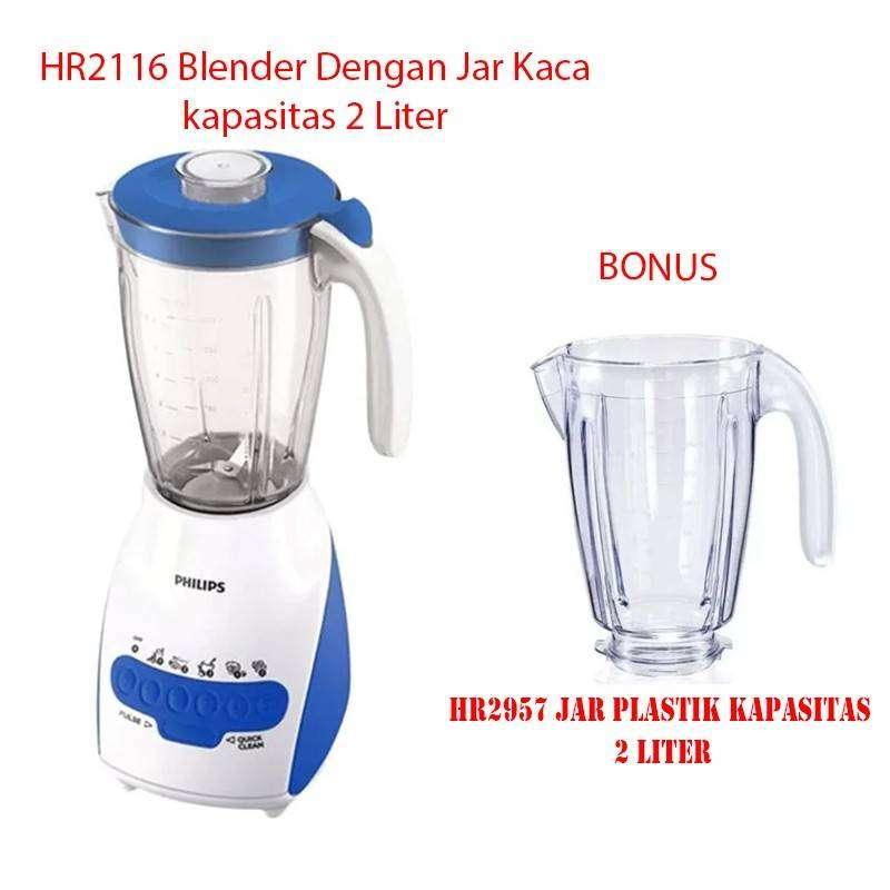 Philips HR2116 Blender Jar Kaca 2 LIter Bonus Jar Plastik HR2957 0