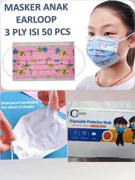 Masker Anak 3ply isi 50 Pcs Earloop 3-14 Tahun Medical Grade