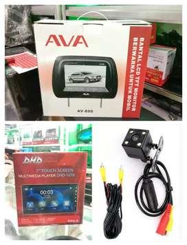 Paket Tv DHD-1076 DVD MIRRORLINK + kamera Mundur + Headrest AVA 8inch