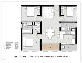 2+1 bhk with north facing flat