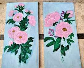 Two canvas set, acrylic colour and gesso use, pink bedroom theme.