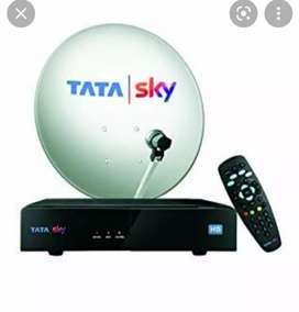 Tata sky HD set top box with remote with dish