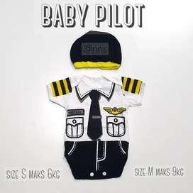 Jumper Bayi Profesi Pilot Kostum Set Topi Lucu