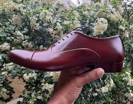 BROWN REAL LEATHER HAND MADE FORMAL SHOES FOR MEN WITH LEATHER SOLE