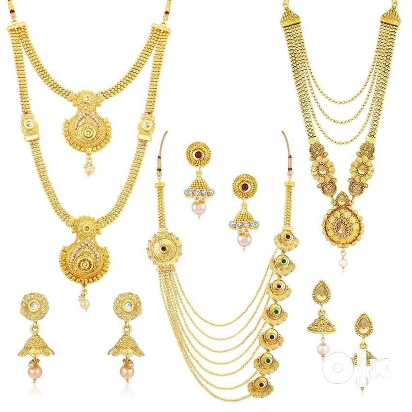 Gold Plated Wedding Jewellery Kundan Multi-String Set of 3 Necklace 0