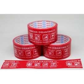 Lakban Fragile / Isolasi Jangan DiBanting / Warna Merah