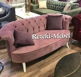 Sofa single VINTAGE mewah minimalis motif kerang kain baldu bludru.