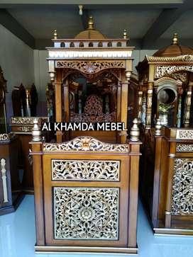 Terima pesanan mimbar masjid ukiran kaligrafi free ongkir