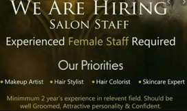 Need male/female staff required for beauty salon/parlor