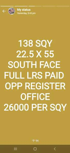 138 SQY SOUTH FULL LRS PAID OPP Registration office Hanamkonda