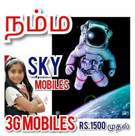 3G MOBILES Just Rs.1,5OO onwards At 'SKY MOBILES' Billion Day Sale