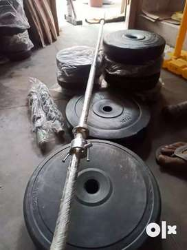 Gym 50 kg combo with 2 dumbell rods and 5ft rod
