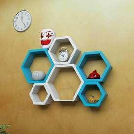 Wall Shelf set of 6(Hexagon)(Blue And White)