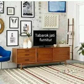 Meja tv retro moderen & elegan, P.150cm, kayu jati tua asli terbaik
