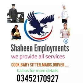 We provide all domestic staff at home like as maids cook driver etc