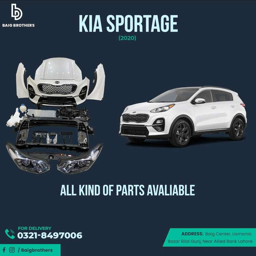 Kia Sportage 2020-2021 Bonnet ,Sunroof ,Door ,bumper ,backlight diggi