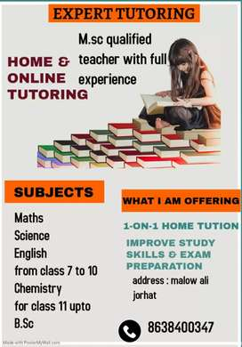 Contact for Home tutor for science, maths, english subjects.