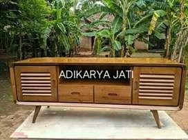 Meja rak tv speak retronan kayu jati  .