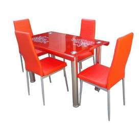 Meja makan Murah 4 kursi + meja kaca Baru | COD makassar