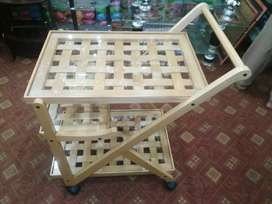 Wood Trolley with glass