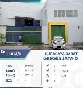 Gudang Strategis 1200 m2, Murah, SHM, 3 KM di Greges Jaya, Surabaya