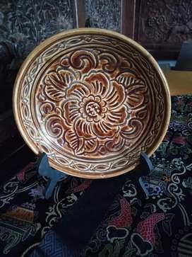 Piring Antik  Porslen motif bunga coklat diameter 23.5cm