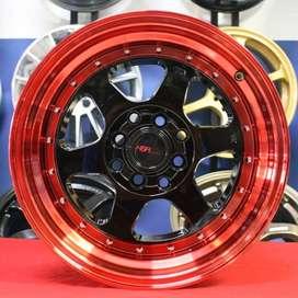 Pelek racing mobil brio HSR R15X7-8 pcd 4X100-114,3 ET 35-30 BK-REDL